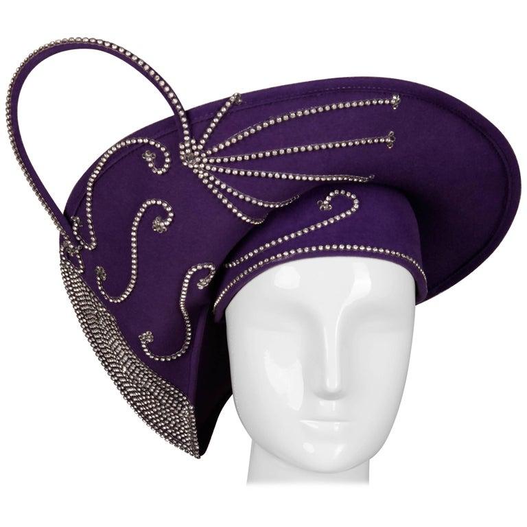 George Zamau'l Vintage Avant Garde Purple Rhinestone Wool Hat Unworn with Tags  For Sale