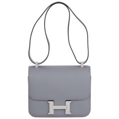 Hermes New in Box Gris Mouette Constance 24 CM Bag