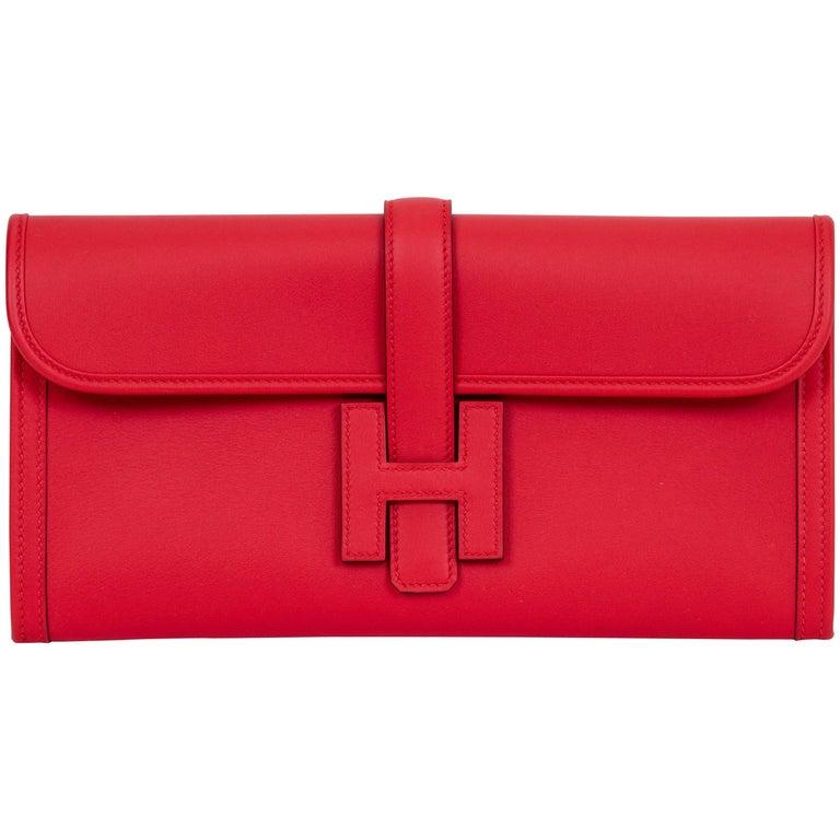 New in Box Hermes Jige Elan 29 Capucine Swift Clutch Bag
