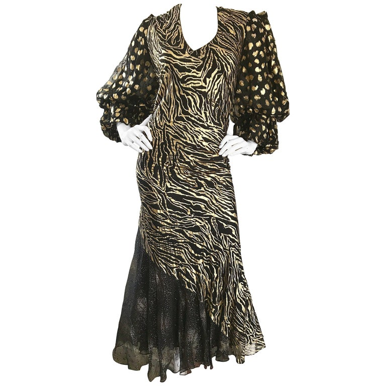 Plus Size Vintage Judy Hornby Couture Hand Painted Gold Black Animal Print Dress