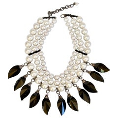 Francoise Montague Glass Pearl and Jet Back Choker Necklace