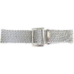1990s Ralph Lauren Collection Purple Label Silver Braided Oversized Vintage Belt