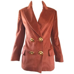 Vintage Escada by Margaretha Ley Rust Brown Angoral Wool Double Breasted Blazer
