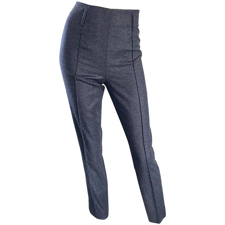 Yves Saint Laurent Fall '07 Stefano Pilati Grey High Waist Wool Cigarette Pants