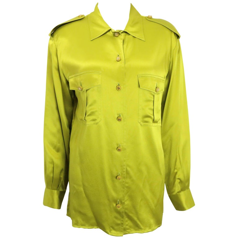 Chanel Green Silk Shirt  For Sale