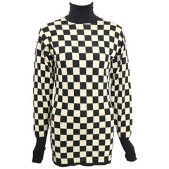 Vintage Moschino Black and White Check Pattern Turtleneck Sweater