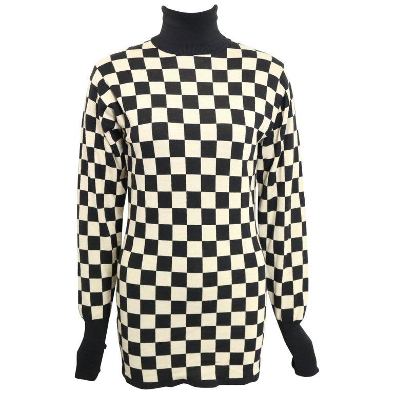 Moschino Black and White Check Pattern Turtleneck Sweater