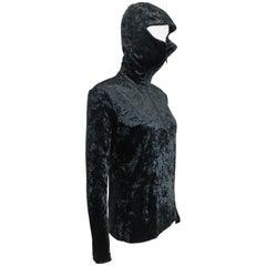 Rare and Unworn Issey Miyake Black Crush Velvet Zipper Sweater with Hoodie