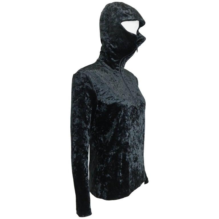 Issey Miyake Black Crush Velvet Zipper Sweater with Hoodie