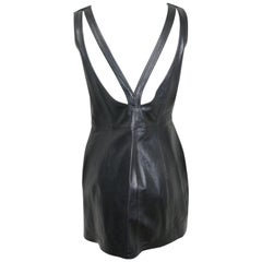 Gianni Versace Iconic Black Leather Back Cut Out Dress