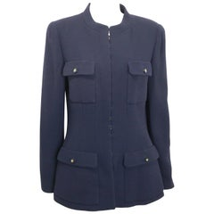 Chanel Dark Navy Military Inspired Style Mandarin Collar Wool Jacket