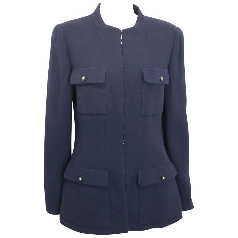 Chanel Dark Navy Military Inspired Style Mandarin Collar Wool Jacket