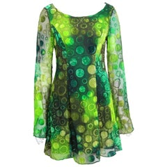 Plein Sud Green Polka Dot Baby Doll Long Sleeves Dress