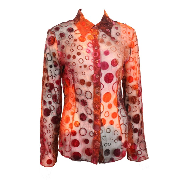 Plein Sud Orange and Red Polka Dot Long Sleeves Shirt  For Sale