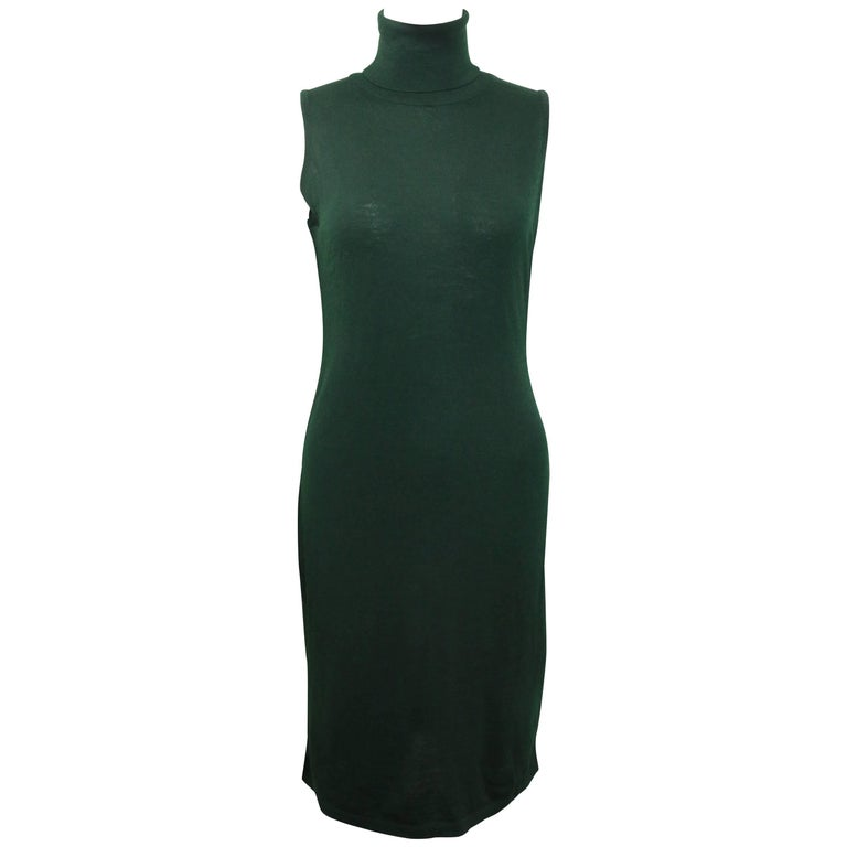Versace Jeans Couture Green Wool Sleeveless Turtle Neck Dress