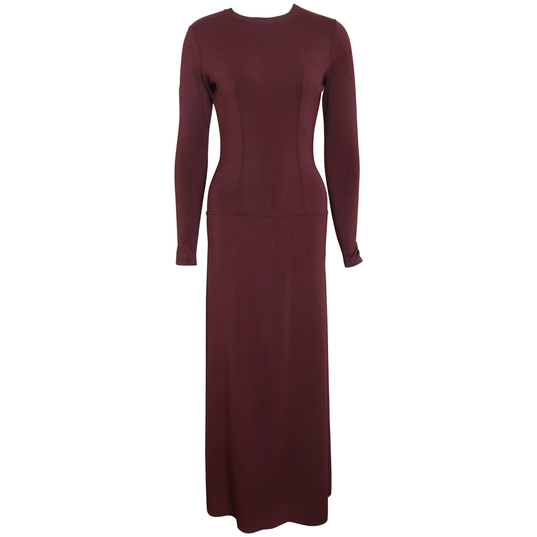 Vintage 90s Alaia Wine Long Sleeves BodyCon Maxi Dress