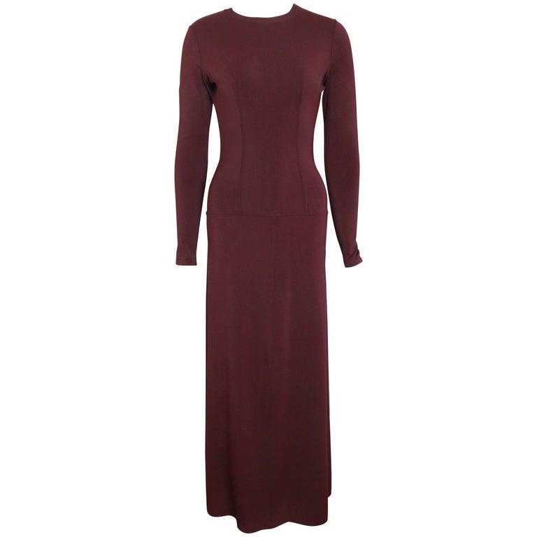 Alaia Wine Long Sleeves BodyCon Maxi Dress