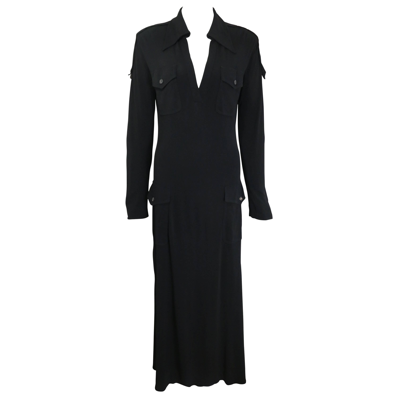 Fall 1996 Gucci by Tom Ford Black Safari Style Maxi Dress
