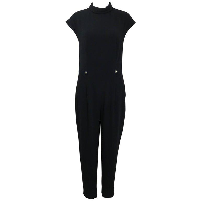 Chanel Black Wool Short Sleeves Jumpsuit