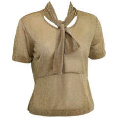 Dries Van Noten Gold Metallic Cropped See Through Short Sleeves Blouse