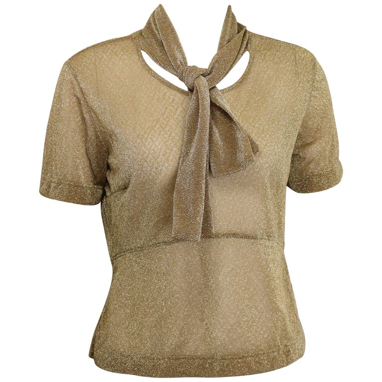 Dries Van Noten Gold Metallic Cropped See Through Short Sleeves Blouse  For Sale