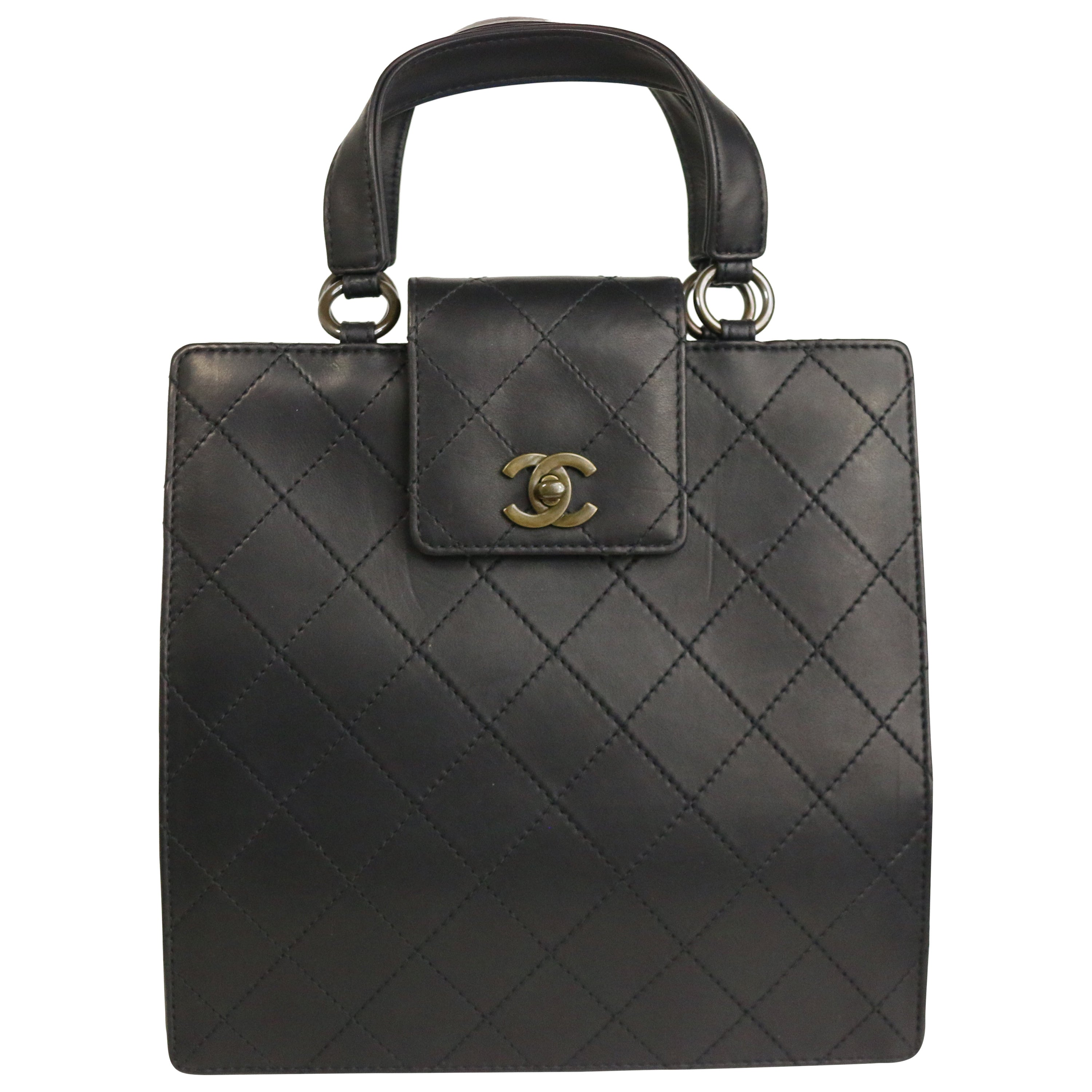 Chanel Black Cow Leather Handle Bag