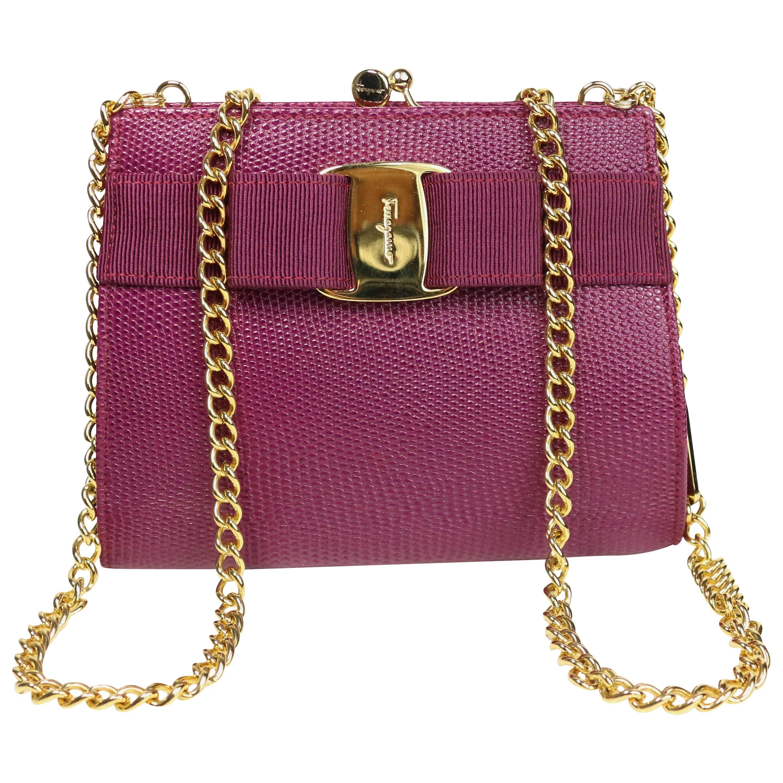 Salvatore Ferragamo Purple Lizard Skin Gold Chain Shoulder Bag c0raC5