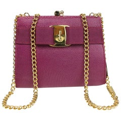 Salvatore Ferragamo Purple Lizard Skin Gold Chain Shoulder Bag