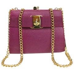 Salvatore Ferragamo Purple Lizard Skin Gold Chain Shoulder Bag