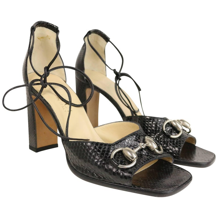 Gucci by Tom Ford Classic Black Python Open Toe Lace Up Sandals Heels