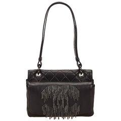 "Chanel Black Leather Silver ""CC"" Fringe Chain Handbag"