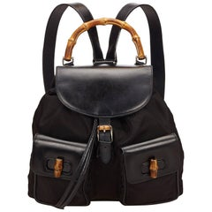 Gucci Black Leather and Nylon Bamboo Backpack