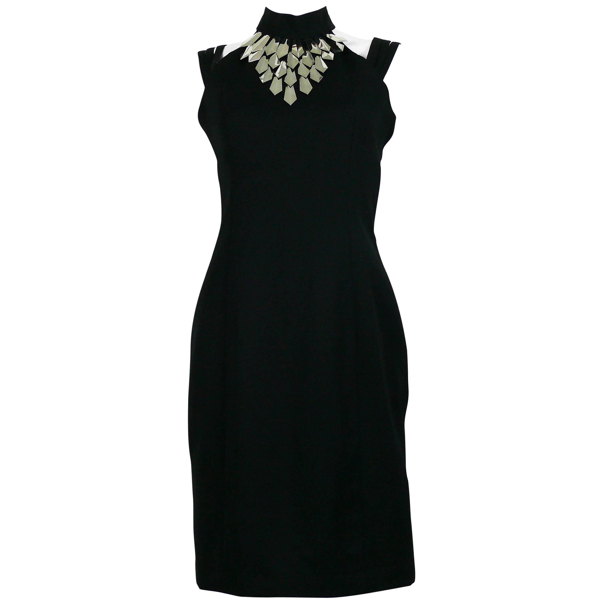 Paco Rabanne Vintage Black Wool Halter Dress with Metal Collar US Size 6