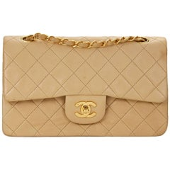1990s Chanel Beige Quilted Lambskin Vintage Small Classic Double Flap Bag