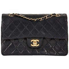 2001 Chanel Black Quilted Lambskin Vintage Small Classic Double Flap Bag