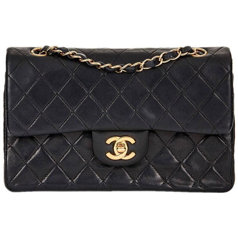 acb5f3bd61f 2001 Chanel Black Quilted Lambskin Vintage Small Classic Double Flap Bag  For Sale