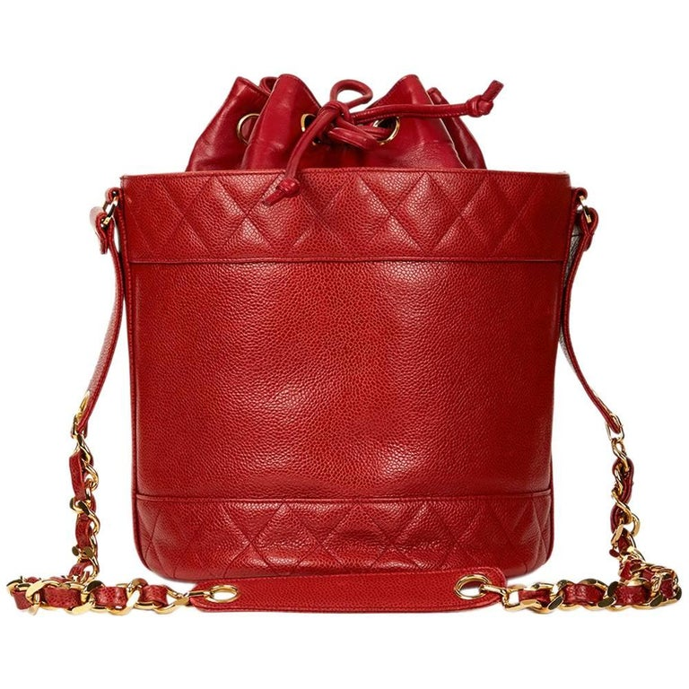 ca967fed0bbb 1990s Chanel Red Quilted Caviar Leather Vintage Bucket Bag at 1stdibs