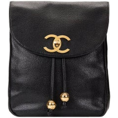 1990s Chanel Black Caviar Leather Vintage Timeless Backpack