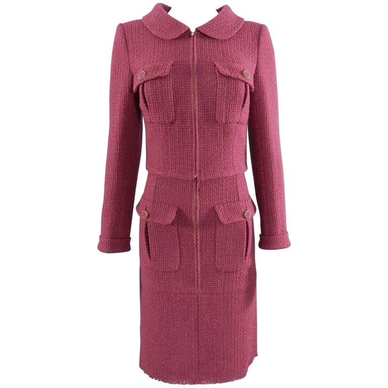Chanel 16K Runway Fuchsia Wool Skirt Suit For Sale