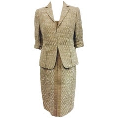 Alluring Akris Punto Dress and Jacket Ensemble in Taupe and Ivory Boucle