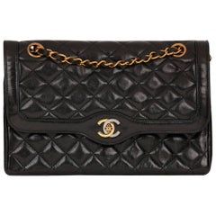 1990s Chanel Black Quilted Lambskin Vintage Limited Edition Classic Double Flap