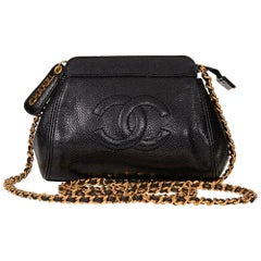 1990s Chanel Black Caviar Leather Vintage Mini Timeless Shoulder Bag