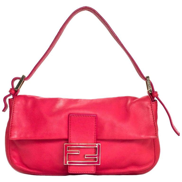 Fendi Pink Leather Baguette Bag