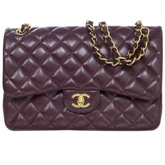 Chanel Eggplant Quilted Caviar Jumbo Double Flap Bag with DB