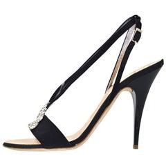 Giuseppe Zanotti Black Evening Sandals Sz 37.5