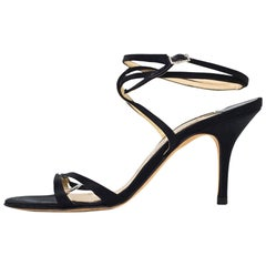 Jimmy Choo Black Satin Evening Sandals Sz 40.5