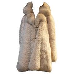 1980s Fendi Chevron Feathered Fox Swing Coat w Lush Collar and Front Tie