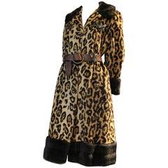 1960s English Carnaby St. Mod Faux-Leopard Fur Coat w Faux Fur Trim