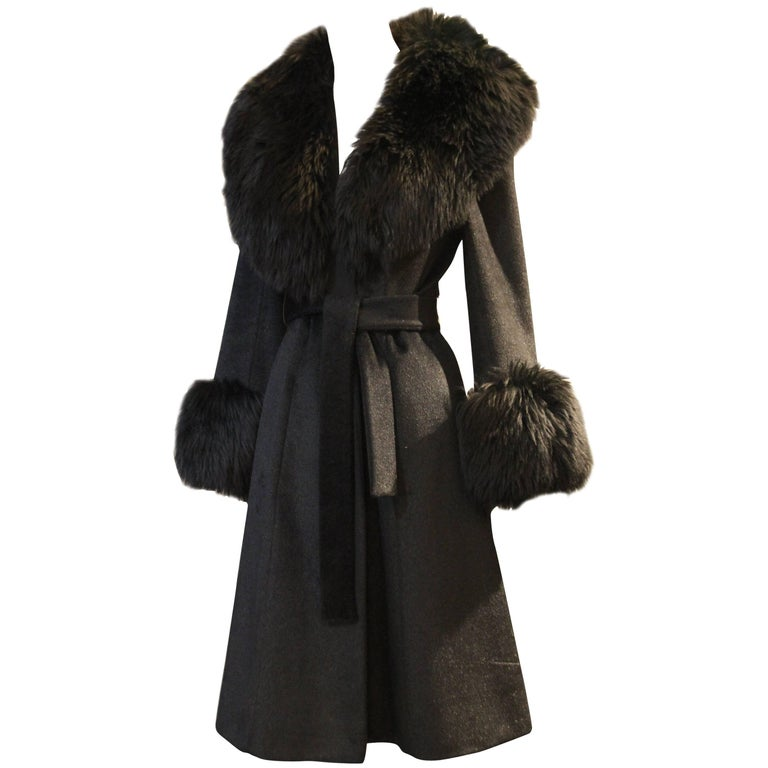 1960s Lilli Ann French Wool Belted Coat w Extravagant Sheepskin Collar and Cuffs