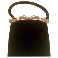 Vintage Leather Sillver & Gold GIlt Crystal Embellished Hand Bag By, Koret